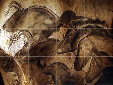 24 x 18 Prehistoric Cave Paintings Mural Ceramic Backsplash Bath Tile #2358