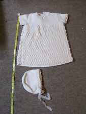 Vintage 1970s Hand-Knitted Dress and Hat - Up to 6 Mths - Unusual Bobbly Design