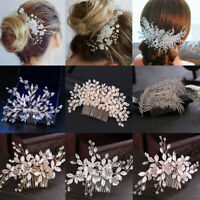 Wedding Bridal Pearl Flower Crystal Hair Pins Clips Hair Comb Headpiece Jewelry