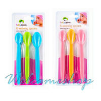 6 Baby Feeding Spoon Weaning Soft Tip Extra Long Handle Silicone 6+ Month