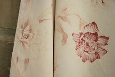 Vintage French faded floral ~ GORGEOUS large scale design ~ cotton pink flowers
