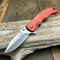 "Elk Ridge 8 1/8"" Spring Assisted Open Gentleman's Folding Hunting Wood Knife"