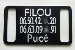 PLAQUE Médaille gravée noire collier Chien harnais gravure offerte gm