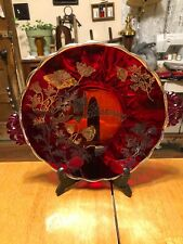VINTAGE WEST VIRGINIA RUBY RED GLASS WITH SILVER FLOWERS 40th ANNIVERSARY TRAY