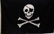 JOLLY ROGER PIRATE FLAG  3' X 5'   SKULL AND CROSSBONES EYE PATCH CROSSED BONES