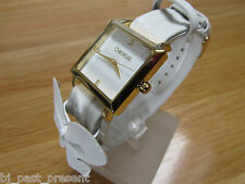 LADIES MORGAN DE TOI WATCH GOLD TONE BEZEL WHITE DIAL WHITE FAUX LEATHER STRAP