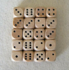 "16mm 5/8"" Lot of 20 Wooden Dice with 2x Bags (set, 16mm d6, pips, wood)"