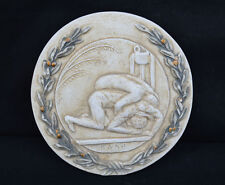 Ancient Greek Olympic Game Wrestling Athlete Sculpture Relief wreath artifact