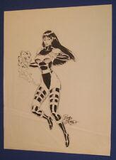 "X-Men Psylocke Bob McLeod Original 11"" x 14"" Comic Book Art Work Sketch 1990s"