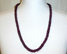 "Antique Victorian Bohemian Red Garnet Beads 27"" Woven Endless Rope Necklace"