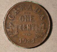 1931 Canada Small Cent - SEMI KEY DATE -  Inv# H-02