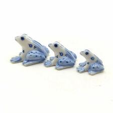 3 Frog Ceramic Figurine Animal Blue&White Statue - CAF061