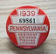 1939 PA FISHING LICENSE PINBACK BUTTON WITH PAPERS