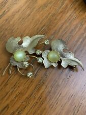Vintage Yellow Moonglow and rhinestone Leaves Brooch