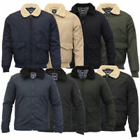 Mens Flying Jacket Brave Soul Coat Sherpa Fleece Collar Padded Bomber Winter New