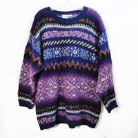 Vintage Katherine Bishop Purple Knit Grandma Sweater Argyle Womens Size XL VTG