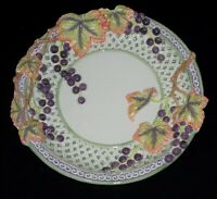 """Fitz & Floyd Grapes, Leaves and Cables Green Lattice Purple Scroll Plate 11"""""""