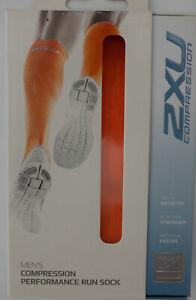 2XU Compression Performance Run Socks Men's XL Fluro Orange/Gray MA2442e