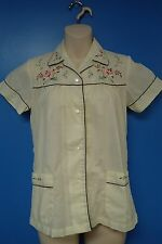 06424 Peacock Embroidered Roses Yellow Vintage Lightweight Women's Blouse Top  S