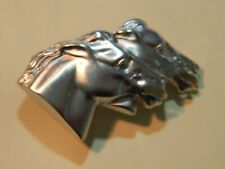 Vintage Signed DOREEN RYAN Double Horse Head Silver Toned Belt Buckle