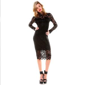 LITTLE BLACK DRESS Lace Cocktail Bodycon Midi Sexy Womens Clubwear Size S-XL NEW