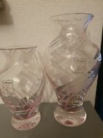 PAIR OF Small Caithness Glass Swirl Vases Pink VGC