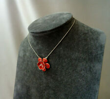 Pilgrim Orange Coral Enamel Flower Pendant Silver Herringbone Chain Necklace