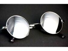 Runde Sonnenbrille Hippie Nickelbrille Lennon Retro  Brille Flachglas Verspiegel