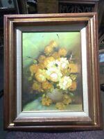 Vintage Framed Original Floral Flower Still-life Oil Painting signed 16x12