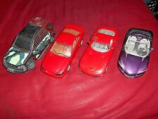 LOT OF 4 RETRO USED PLASTIC ROLLING TOY CARS CORVETTE MUSTANG VIPER MERCEDES