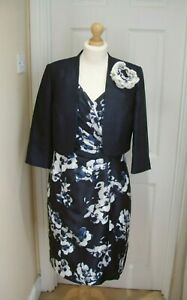12/14 Jacques Vert Navy Orchid Dress Corsage Bolero Jacket Mother of the Bride