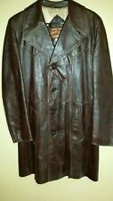 60's/70's Vintage Mens Medium Angel Skin Brown Leather Long Coat Carbetta Jacket