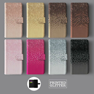 ROSE GOLD GRADIENT ANIMAL PRINT GLITTER LEATHER WALLET PHONE CASE FOR IPHONE