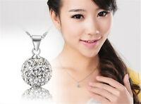 Fashion Womens Pendant Silver chain crystal rhinestone Disco Necklace Jewelry