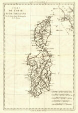 Isles de Corse et de Sardaigne. La Corse et La Sardaigne. bonne 1789 OLD MAP