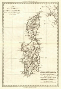 Isles de Corse et de Sardaigne. Corsica and Sardinia. BONNE 1789 old map