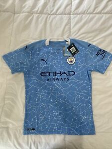 Puma Manchester City FC Authentic 20/21 Home Soccer Jersey Mens Large Sky Blue