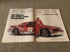 Vintage BILL ELLIOTT NASCAR #9 FORD THUNDERBIRD Poster Print Ad $2 MILLION CAR