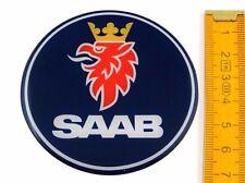 SAAB ★ 4 Stück ★ SILIKON Ø70mm Aufkleber Emblem Felgenaufkleber Radkappen