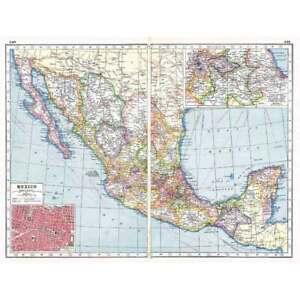 Antique Map 1920 - MEXICO Inset of Mexico City - Harmsworth Atlas