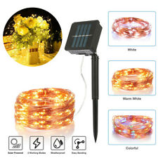 100 LED Outdoor Solar String Lights Copper Wire Fairy Light Garden Home Decor US
