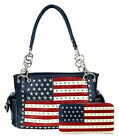 Montana West Women's Patriotic Studded Tote Satchel Handbag and Wallet Set