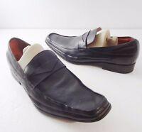 Robert Wayne Mens 9.5 Shale Black Leather Loafers Shoes