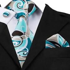USA Fashion Mens Tie Blue Novelty Silk Necktie Hanky Cufflinks Wedding SN-1294