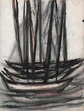 JEANETTE WELTY CHELF Pastel Drawing BOATS AT SEA c1960 ABSTRACT IMPRESSIONIST
