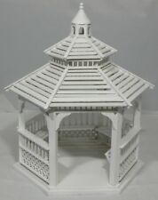 Dollhouse Miniature Gazebo w/Benches, White Painted Wood #T5366