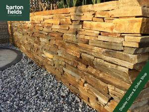 Garden Walling, Natural Drystone Golden Quartz Walling, Crate 3.5m2, Collected