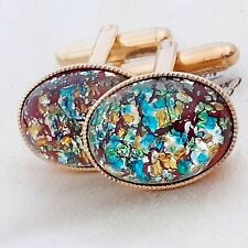 Vintage - 1950s Red Flash Fire Glass Opal - Oval Gold Plated Cufflinks