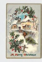 PPC POSTCARD MERRY CHRISTMAS SNOW COVERED LANE HOUSES HOLLY TUCK & SONS EMBOSSED