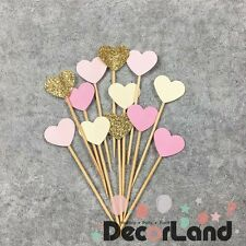 12Pcs Glitter Pink Heart Cupcake Toppers Food Picks Party Decor
